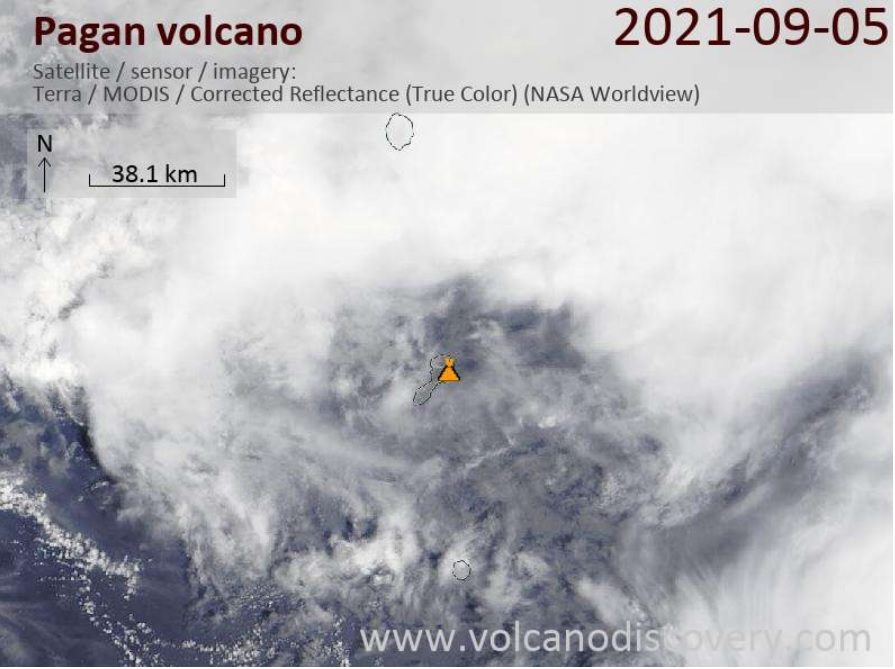 No emissions detected from Pagan volcano on 6 September (image: VolcanoDiscovery)