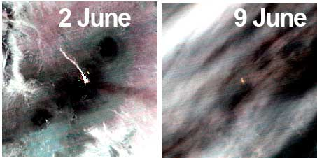 Comparison of thermal satellite images of Pavlow volcano from 2 and 9 June. The lava flow has almost disappeared. (ASTER / GSJ)