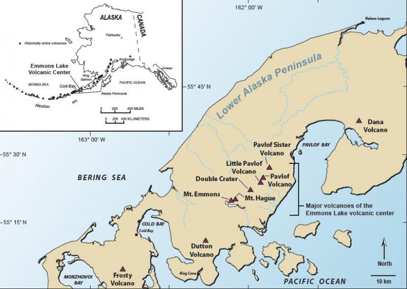 Map of Pavlov volcano and the Emmons Lake volcanic center on the Alaksa Peninsula. (Image Creator: Waythomas, Chris /Image courtesy of AVO/USGS)