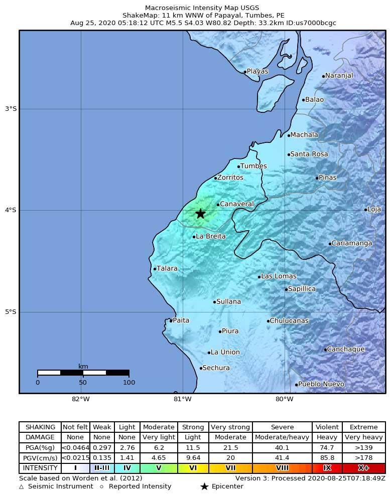 Shakemap of this morning's quake in Peru (image: USGS)