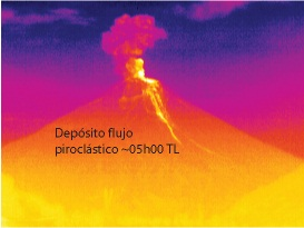 Thermal imaging of pyroclastic flow deposits generated during the 18 Dec 2012. Source: S. Vallejo-IGEPN