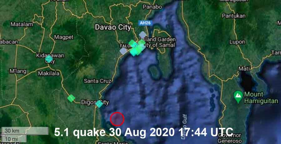 Location of this evening's quake in the Philippines