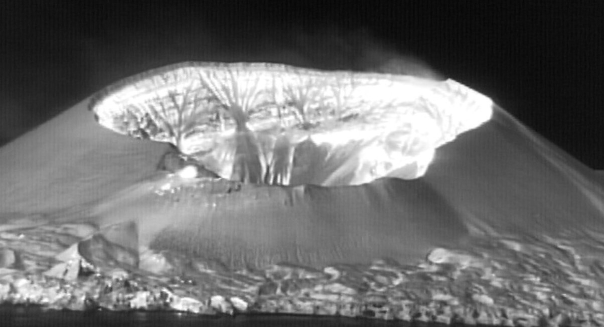 Thermal image of Nishinoshima volcano confirms a highly elevated temperature of inner summit crater (image: JCG)