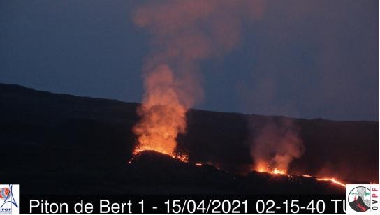 Three fissure vents at the current eruption site of Piton de la Fournaise volcano (image: OVPF)