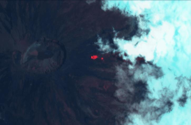 Weak thermal anomaly at the vent of Piton de la Fournaise's last eruption (image: OVPF)