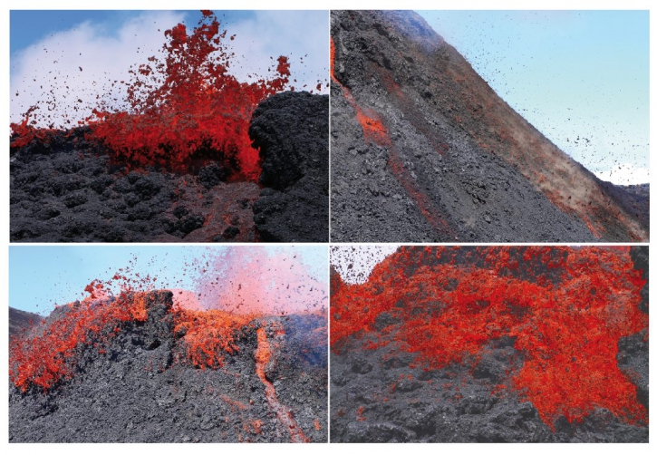 Images of lava bubbles from the main vent on 12 Oct (OVPF)