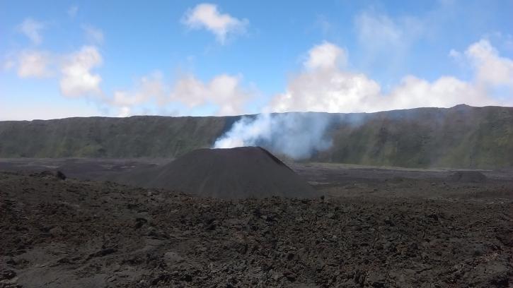 The new cone built during Piton de la Fournaise's latest eruption seen on 27 Feb 2017 (image: OVPF)