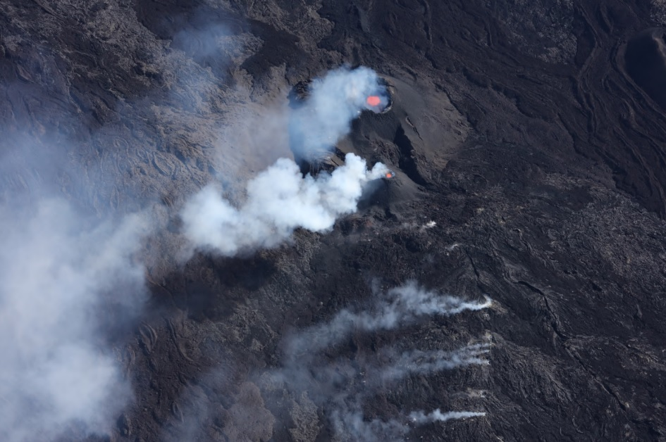 Aerial view of two main cinder cones at current eruption site of the volcano (image: OVPF)