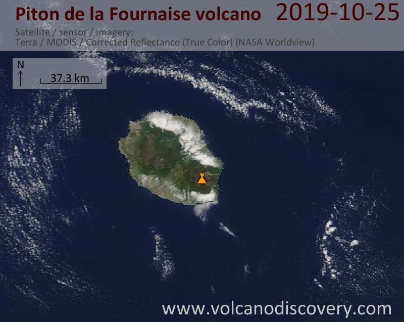 Satellite image of Piton de la Fournaise volcano on 25 Oct 2019