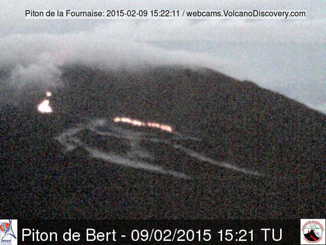 View of the active lava flow at Piton de la Fournaise volcano last night