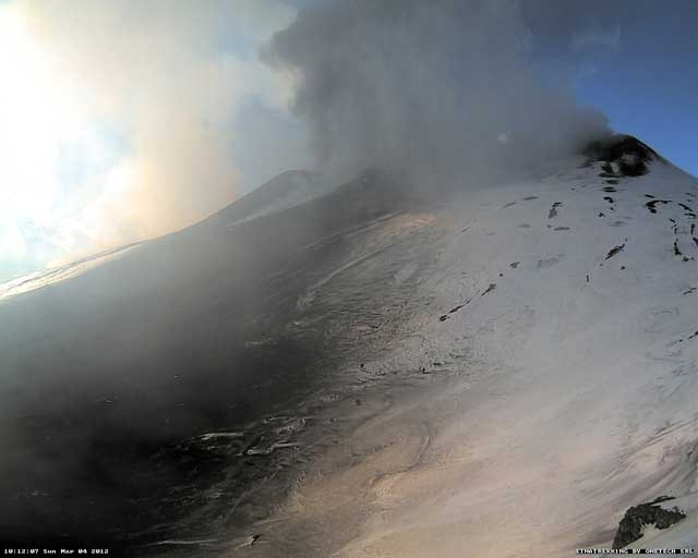 Etna trekking webcam (nr3) 10h12 local time; steam is seen rising from an area SW of the summit cones