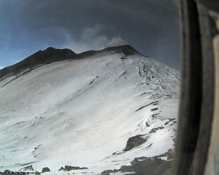 Ash venting from the NE crater (Pizzo Deneri Etna Trekking webcam)