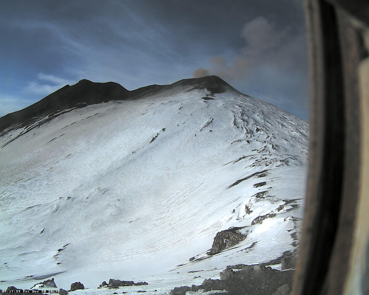 Ash venting from the NE crater (Pizzo Deneri Etna Trekking webcam)