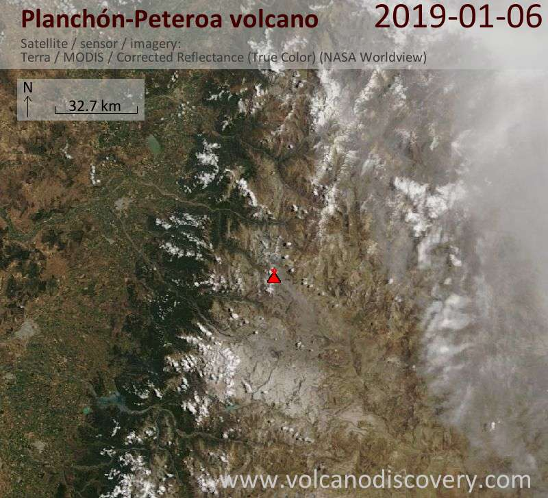 Satellitenbild des Planchón-Peteroa Vulkans am  6 Jan 2019