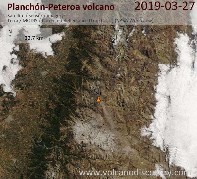 Спутниковое изображение вулкана Planchón-Peteroa 27 Mar 2019