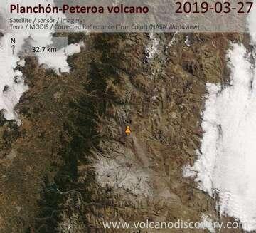 Satellite image of Planchón-Peteroa volcano on 27 Mar 2019