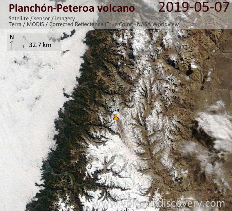 Satellitenbild des Planchón-Peteroa Vulkans am  7 May 2019