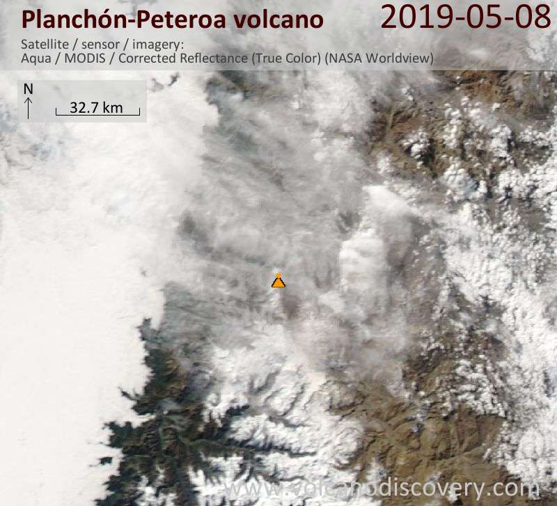 Satellitenbild des Planchón-Peteroa Vulkans am  8 May 2019