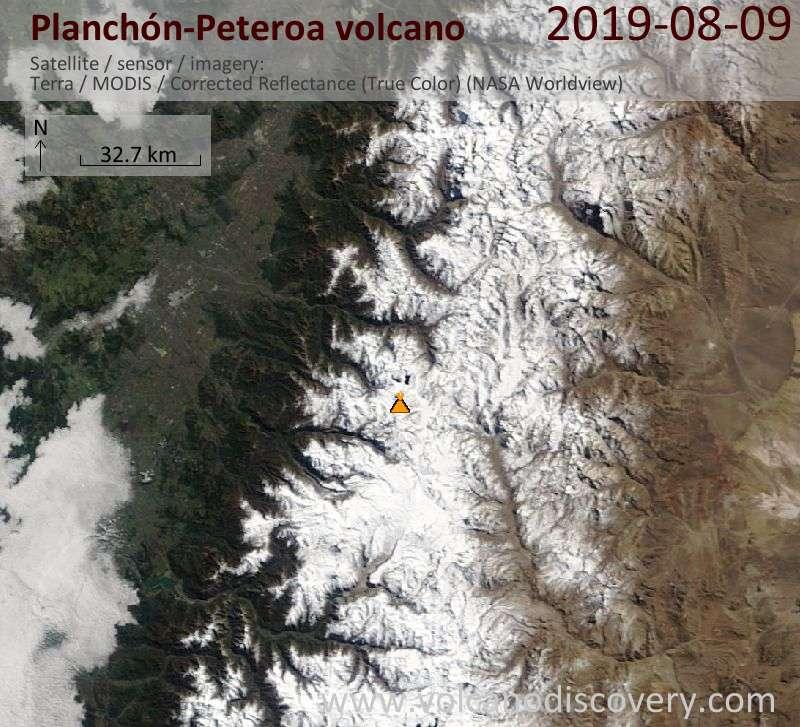 Satellitenbild des Planchón-Peteroa Vulkans am  9 Aug 2019