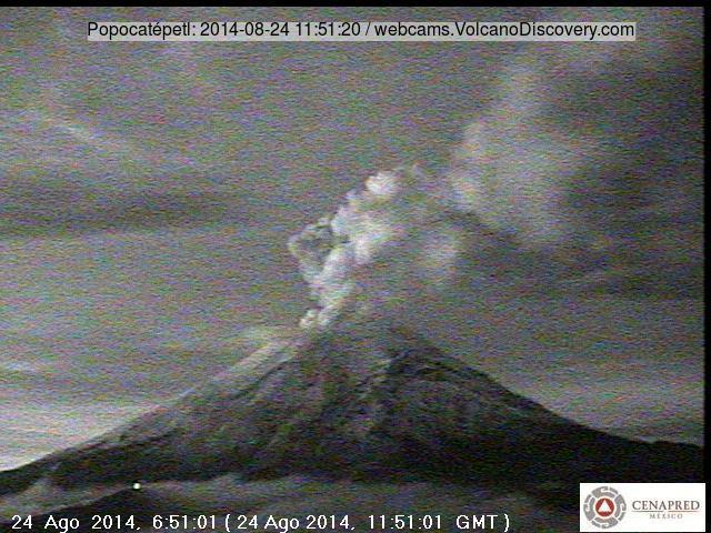 Kleine uitbarsting op Popocatépetl vulkaan vanochtend