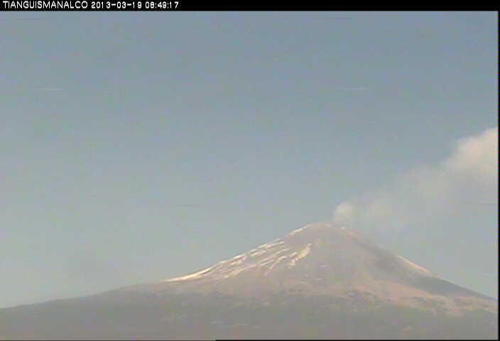 Steaming Popocatépetl seen from the south today