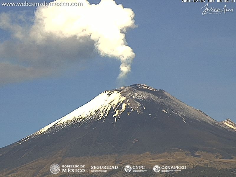 Steam and gas plume from Popocatépetl volcano today (image: CENAPRED)