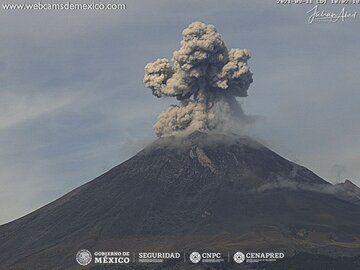 Vulcanian eruption from Popocatépetl volcano yesterday (image: CENAPRED)