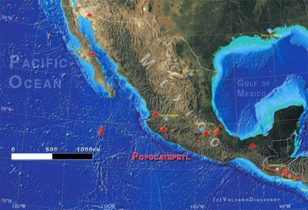 Location of Popocatepetl volcano