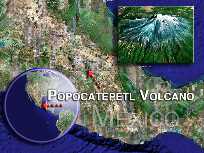 Satellite images of Popocatepetl volcano (c)Google Earth View