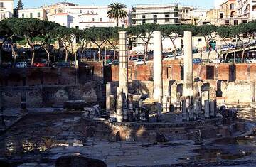 The Macellum at Pozzuoli where evidence of recent uplift can be seen on the columns