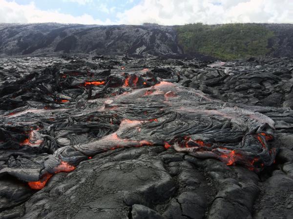 Pahoehoe lava flow in the coastal plain of Kilauea volcano (Hawai'i) on 2 July 2016 (image: USGS)