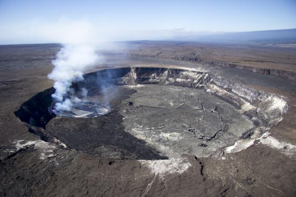Kilauea's summit lava lake seen yesterday; the black areas inside Halema'uma'u are the recent lava overflows in mid Oct  (image: HVO)