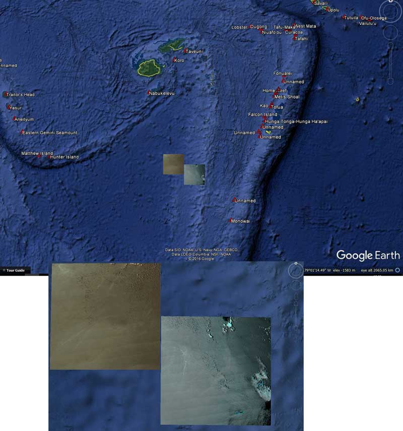 Location of the observed pumice rafts (image: GeoNet)