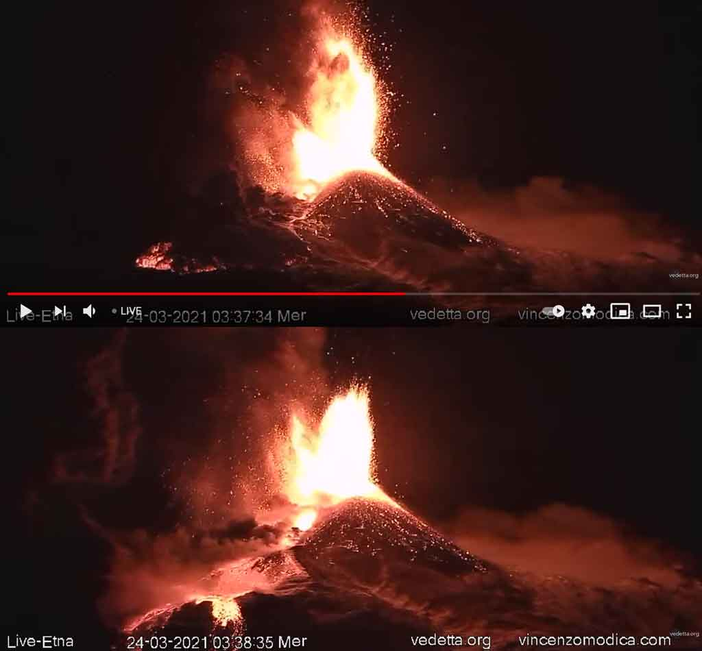 Two screenshots during the pyroclastic flows, showing its advance (top) and the hot deposit and ash plume rising after its passage (b) (image: Vedetta video)