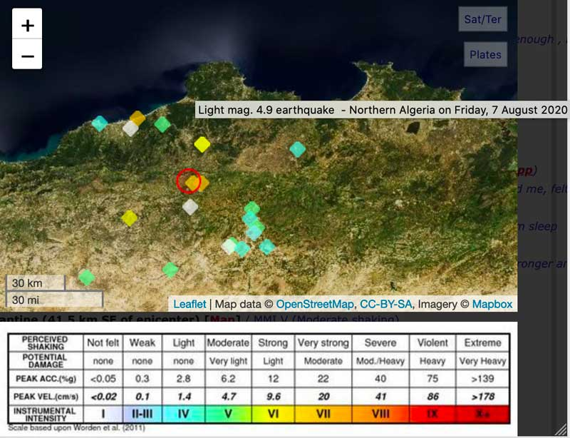 User experience reports and epicenter (red circle) of this mornings quake in Algeria