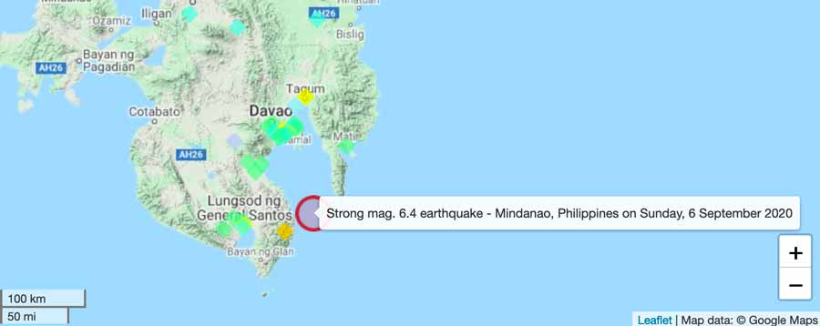 This evening's quake in the Philippines