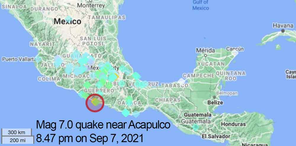 Map of areas where last night's quake in Mexico was felt
