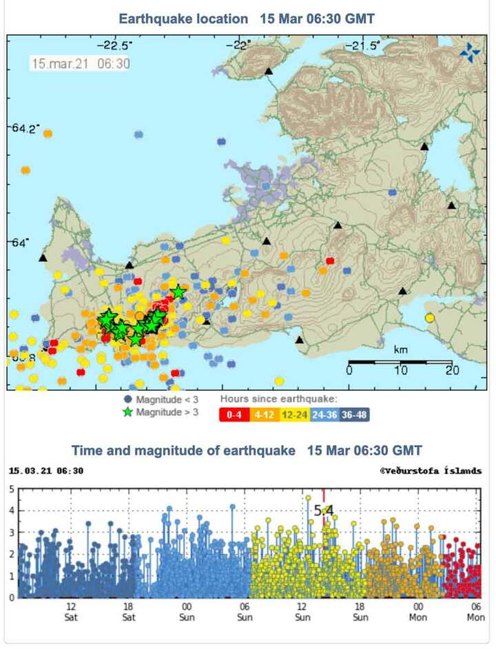 Earthquakes on the Reykjanes peninsula during the past 48 hours (image: IMO)
