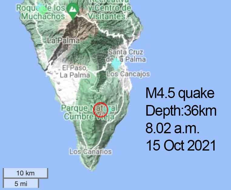 Location of this morning's magnitude 4.5 quake under La Palma