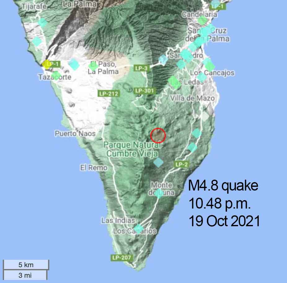 Location of this evening's 4.8 quake at La Palma