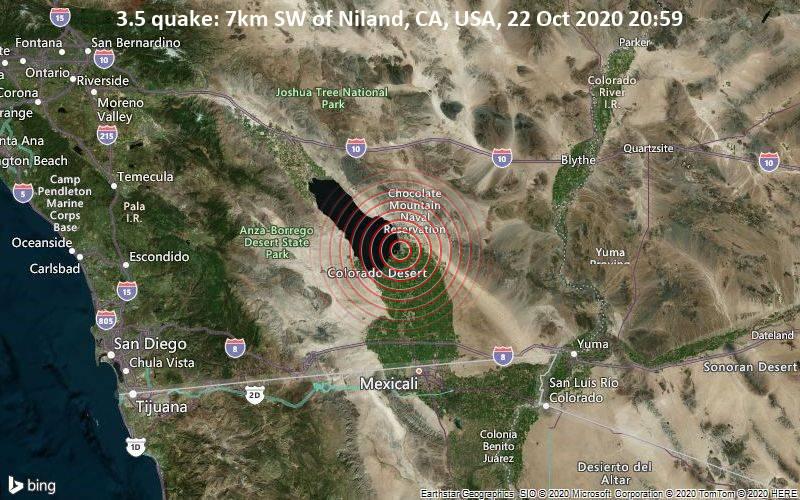 3.5 quake: 7km SW of Niland, CA, USA, 22 Oct 2020 20:59
