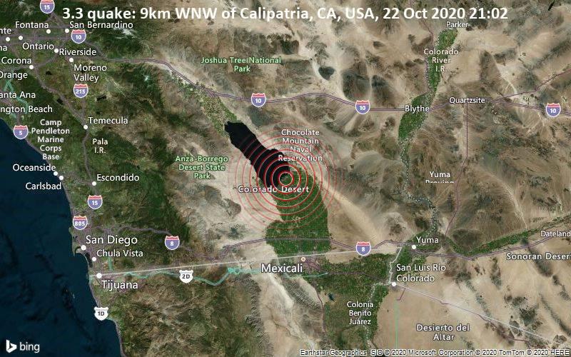 3.3 quake: 9km WNW of Calipatria, CA, USA, 22 Oct 2020 21:02