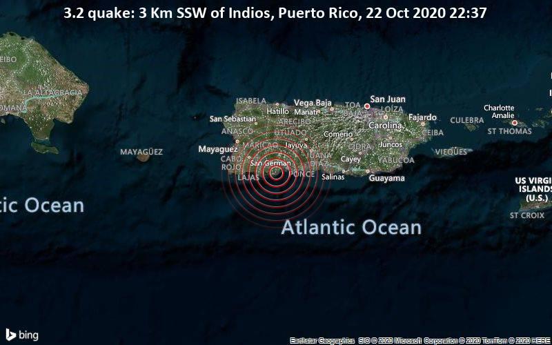 3.2 quake: 3 Km SSW of Indios, Puerto Rico, 22 Oct 2020 22:37