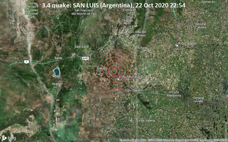 3.4 quake: SAN LUIS (Argentina), 22 Oct 2020 22:54
