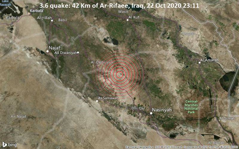 3.6 quake: 42 Km of Ar-Rifaee, Iraq, 22 Oct 2020 23:11