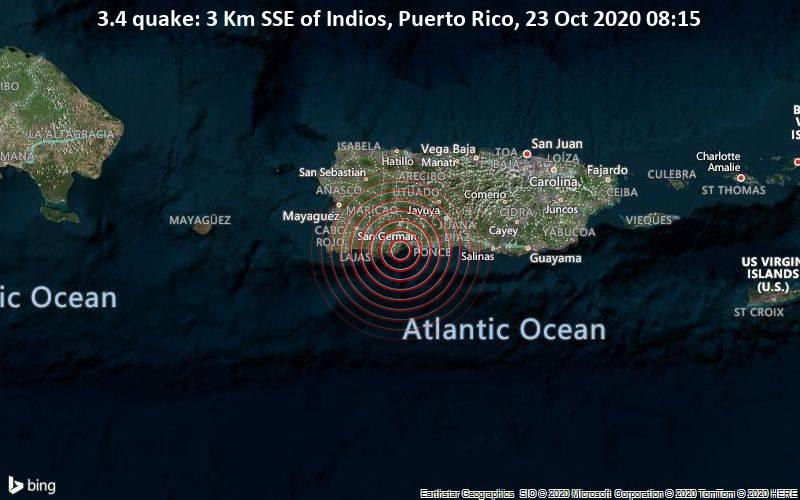 3.4 quake: 3 Km SSE of Indios, Puerto Rico, 23 Oct 2020 08:15