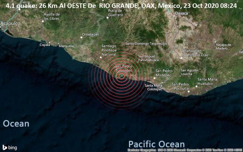 4.1 quake: 26 Km Al OESTE De  RIO GRANDE, OAX, Mexico, 23 Oct 2020 08:24
