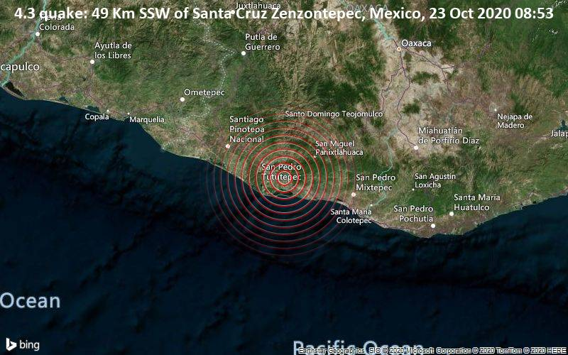 4.3 quake: 49 Km SSW of Santa Cruz Zenzontepec, Mexico, 23 Oct 2020 08:53