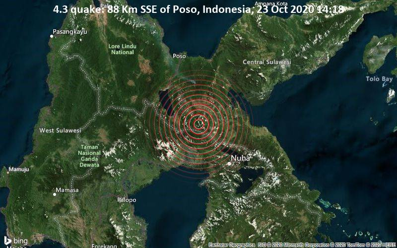 4.3 quake: 88 Km SSE of Poso, Indonesia, 23 Oct 2020 14:18