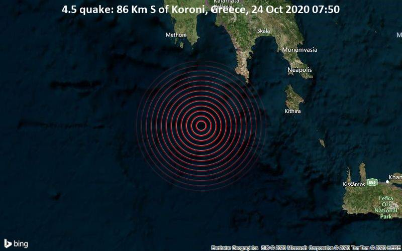 4.5 quake: 86 Km S of Koroni, Greece, 24 Oct 2020 07:50